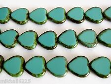 10 15x15mm Czech Glass Window Heart Beads: Opaque Turquoise - Picasso
