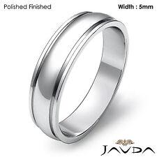 Plain Dome Step High Polish Ring Men Wedding Solid Band 5mm 14k White Gold 4.9g
