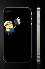 Minions [Apple Grab] Vinyl Sticker Decal Skin for iPhone 4/4s [BLACK]