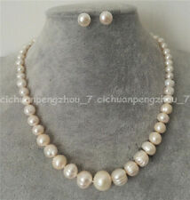 Rare 6-12mm Genuine Natural White Freshwater Pearl Necklace Earrings Set 18-48''