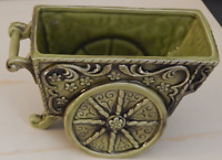 Lefton 4316 Pottery Green Garden Cart Wheelbarrow Planter Vintage