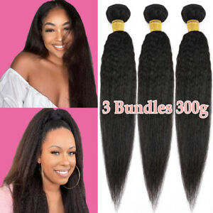 Kinky Yaki Straight Indian Hair Weave Weft 1-4 BUNDLES Virgin Human Hair Soft US