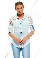 NEW Womens Denim Crochet Shirt Ladies Lace Shirts Size 8 10 12 14 Blue jean