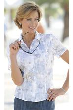 La Maison du Jersey Bleu Motif Floral Brodé Chemisier Haut Taille 20 Neuf Prix De Vente Conseillé € 79 Blanc