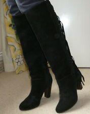Diane Von Furstenberg Negro Botas de flecos de gamuza, Hippy Boho, Festival de Rock Chick,