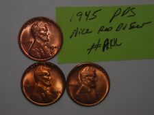 wheat penny 1945,1945-D,1945-S RED BU SET 1945D,1945S UNC LINCOLN CENTS LOT #1