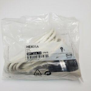 HEMMA Ceiling Lamp Cord Set White w/Black IKEA 101.758.10 17610