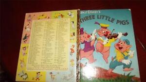 THE THREE LITTLE PIGS Walt Disney's LITTLE GOLDEN BOOK 1952 cute WOLF 4square VG