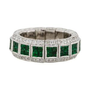 18k White Gold 2.32ct Emerald Stretchable Eternity Diamond Ring