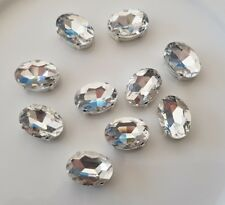 10 pieces 14 x 10mm Clear Oval Shape Rhinestone Jewel, Gem with claw, Sew on