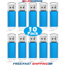10 Paquete a granel 1/2/4/8/16/32GB USB 2.0 Memory Stick Flash Pen Drive-Azul
