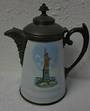 RARE 1886 PORCELAIN & PEWTER  STATUE OF LIBERTY COFFEE POT