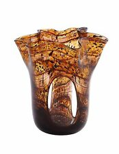"New 7"" Hand Blown Glass Art Vase Amber Black Handkerchief Ruffle Italian"