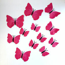 12 Hot Pink & Different Size Butterflies 3D WallArt