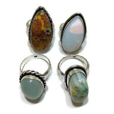 Bulk Lot !! 4 PCs. Opalite & Chalcedony 925 Sterling Silver Plated Ring Jewelry
