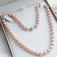 7-8mm Natural Pink Freshwater Cultured Pearl Silver Necklace 18'' AAA