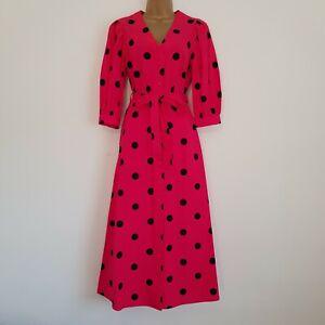 NEW MONSOON RRP £65 Sizes 8-22 SPOT PRINT MIDI DRESS Pink Black Cotton Polka Dot