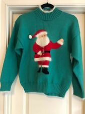 Ceau Mar Green w/White Angora Winking Santa 100% Wool Christmas Sweater M
