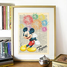 DISNEY Mickey Mouse, FINTO DIZIONARIO pagina art print poster con finto firma.