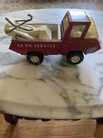 Vintage 1970s Tonka Wrecker Tow Truck 24 Hour Service Farm  Red Pressed Steel