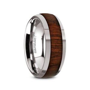 Dalberg Tungsten Carbide Rose Wood Inlay Mens Domed Wedding Ring