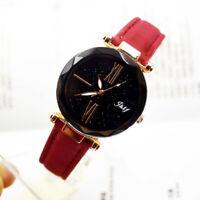 Fashion Women Leather Casual Watch Ladies Analog Quartz Starry Sky Wristwatch