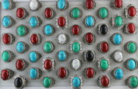 Men's Jewelry Wholesale Mixed Lots 30pcs Natural Stone Alloy New Fashion Rings