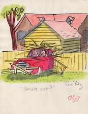 TED KEY HANDSIGNED ORIGINAL COLOR ARTWORK FROM EARLY 50s  RARE  HAZEL CARTOONIST