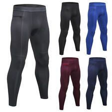 Mens Workout Compression Leggings Workout Gym Pants with Pocket Moisture Wicking