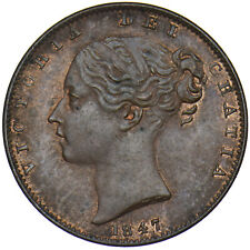 More details for 1847 farthing - victoria british copper coin - very nice