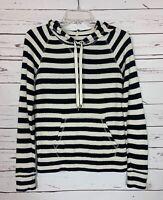 J.CREW Black Ivory Striped Hoodie Sweatshirt Top Shirt Women's Sz XS Extra Small
