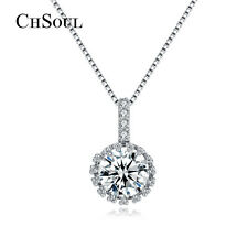 Fashion Women Silver Round CZ Pendant Chain Choker Necklace Party Jewelry Gifts
