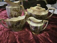 acr&co ltd rare crown ducal vintage blush  birds print  coffee sugar bowl set