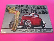 tin metal decor gas oil dealer garage repair shop advertising petroleum my garag