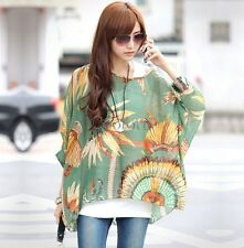 Fashion Women Summer Boho Bat sleeves Shirt Blouse Casual Blouse Tops T-Shirt