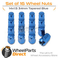 Blue Wheel Nuts (16) 14x1.5 Tapered 34mm For Maserati Bora 71-78