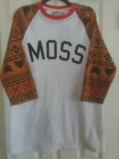 New Moss Clothing NYC Men's XL Baseball T-Shirt White with 3 Quarter Sleeves