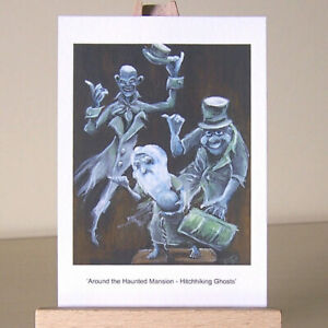 ACEO WDCC drawing art Around the Haunted Mansion - Hitchhiking Ghosts