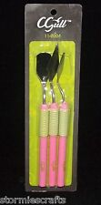 C-Gull Spatula Tool Kit #11-0004 3 Pink Wide Blade Long Diamond NarrowRoundTip