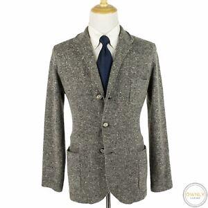 Brunello Cucinelli Grey Wool Cashmere Flecked Patch Pkts Sweater Jacket 52EU/L