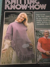 VINTAGE KNITTING KNOW HOW PATTERNS LEARN TOTE BAG TOP PILLOW SWEATER BABY SET