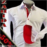 Herren Hemd Herrenhemd Weiss Rot Langarm Glanz Lack-Wet-Look S M L XL XXL NEU