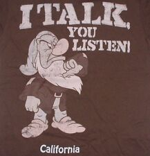 Disney Grumpy T-Shirt Small I Talk You Listen California Brown Dwarf Snow White