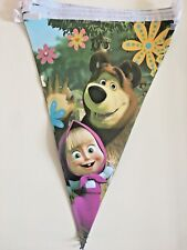 Masha and The Bear Triangle Flag Banner kids Birthday Party Decorations