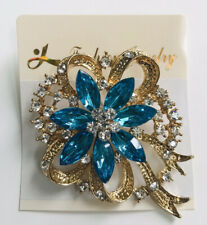 Turquoise-Gold Brooch Crystal Diamante Hijab Scarf Pin Party Wedding UK SELLER