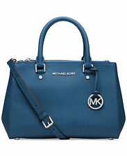 NEW Michael Kors SUTTON Small Saffiano Leather Satchel - Steel Blue with Silver