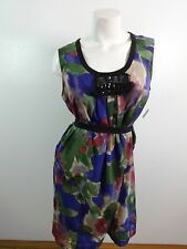 SIMPLY VERA WANG WOMENS PURPLE GREEN & PINK ABSTRACT POLYESTER DRESS SIZE M