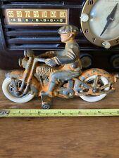 1930's Harley Davidson Hubley 6� Cast Iron Civillian Rider Motorcycle Toy