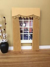 MINIATURE DOLL HOUSE  FURNITURE CURTAINS DRAPES LIGHT GOLD 10CM WIDE 4  INCH