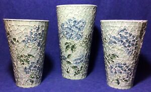 """Lot Set Of 3 Glass Mosaic Vases Large Hydrangea 13"""" Tall Metal Cylinder"""